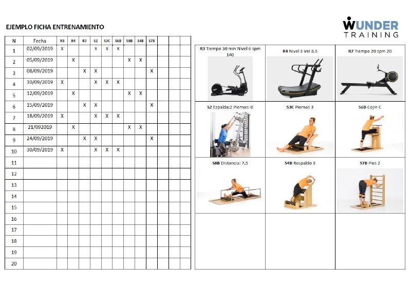 Exemple de fitxa d'entrenament a Wunder Training (dors)